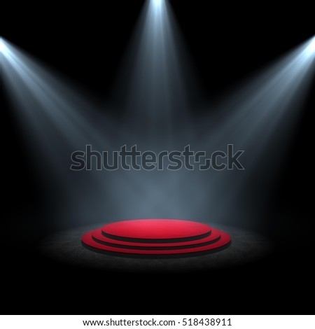 spotlight on stage circle A 3d rendering