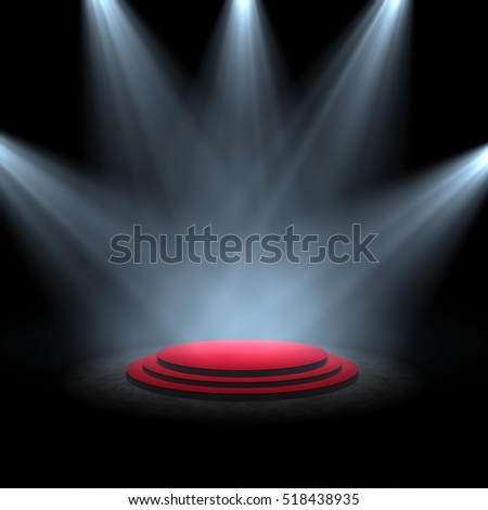 spotlight on stage circle B 3d rendering