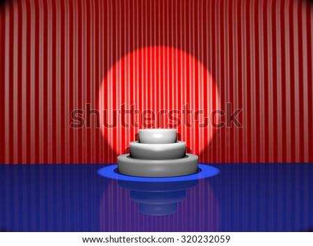 Spotlight on stage curtain.3d - stock photo