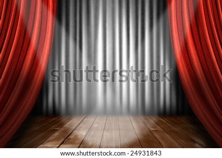 Spotlight on Stage in a Theater House Indoors - stock photo