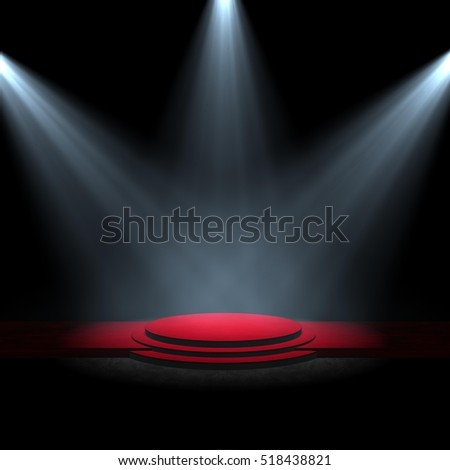 spotlight on stage red carpet B 3d rendering