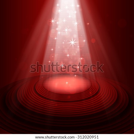 Spotlight on stage red. Raster version. - stock photo