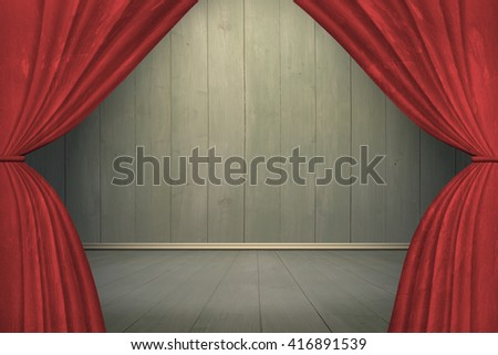 Spotlight on stage with red curtains, on old wooden wall and floor background. - stock photo