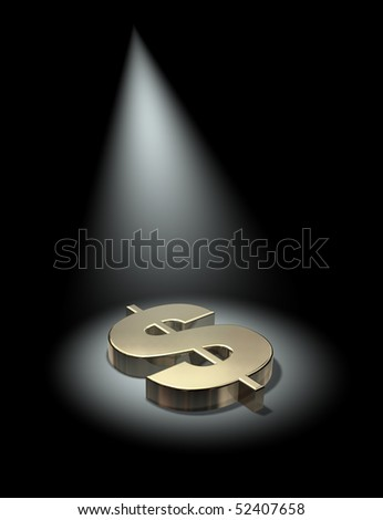 Spotlight on the dollar - stock photo