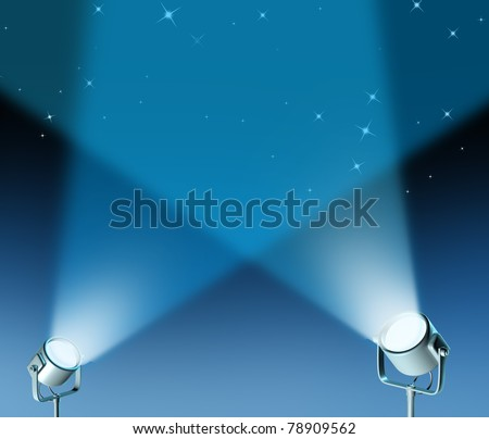 Spotlight stage with lights radiating energy from the floor up representing an important  entertainment presentation.