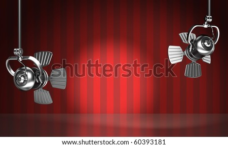 Spotlights illuminate the red scene. 3D render. - stock photo