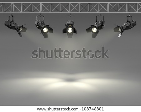 Spotlights illuminated wall. Space for text. 3d