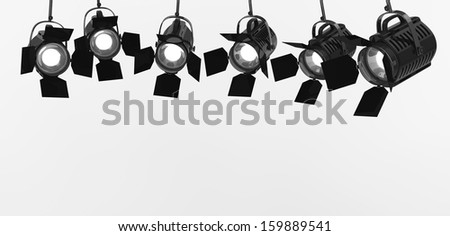 Spotlights on a white background  - stock photo