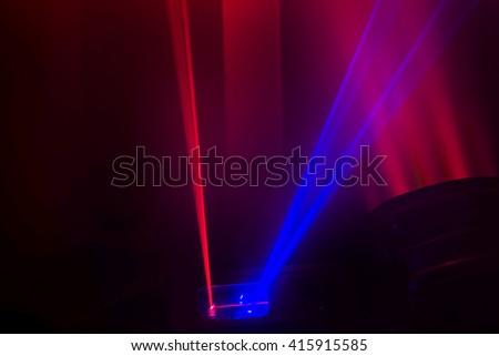 Spotlights on stage with smoke - stock photo