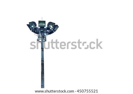spotlights post on white background. - stock photo