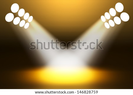 Spotlights shining on the stage - stock photo