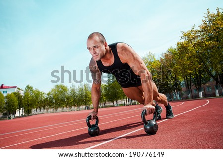 spotrsmen warming up - stock photo