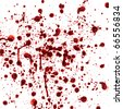 spots and splashes of blood on a white background - stock photo