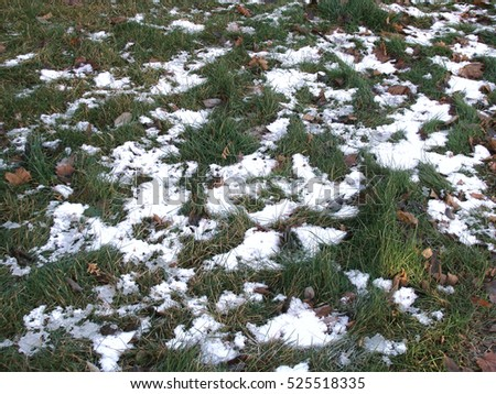 Spots of first snow on green grass in autumn evening.