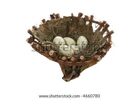 Spotted bird eggs in a nest isolated over white - stock photo