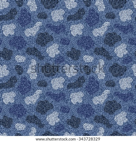 Spotted Camouflage Jeans background. Denim seamless pattern. Blue jeans cloth.