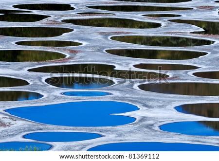 Spotted Lake, Klikuk, in Osoyoos area - stock photo