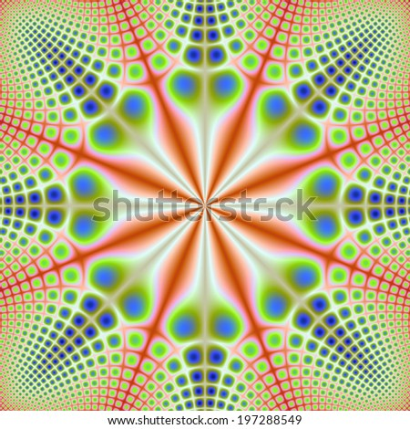 Spotted Octagon / A digital abstract fractal image with a spotted octagon design in orange, green and blue. - stock photo