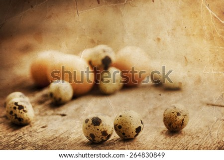 Spotted quail eggs, Easter eggs on beautiful wooden table, Easter background - stock photo