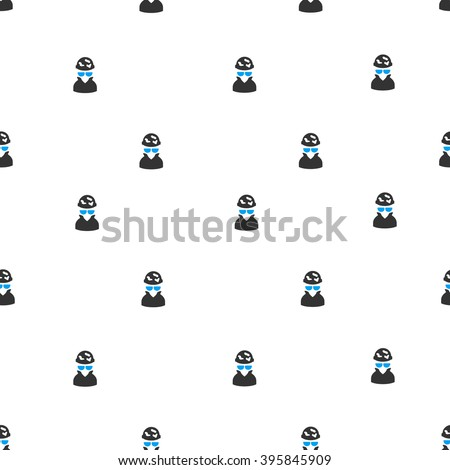 Spotted Spy raster seamless repeatable pattern. Style is flat blue and dark gray spotted spy symbols on a white background. - stock photo