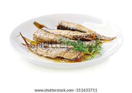 sprats in the dish isolated on white background - stock photo