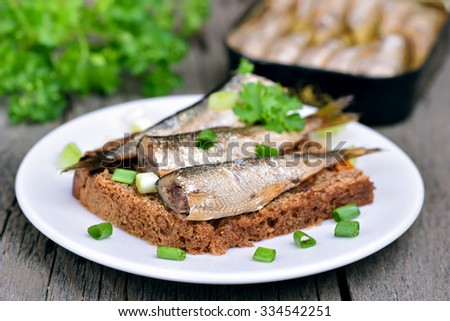 Sprats sandwich decorated with green onion on white plate, shallow depth of field - stock photo