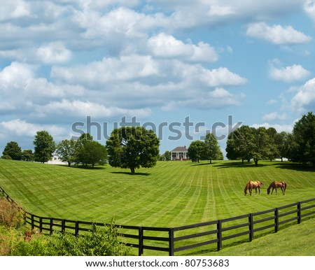 Sprawling acres of fenced in green pastures surround a horse farm ranch in Kentucky, USA. - stock photo