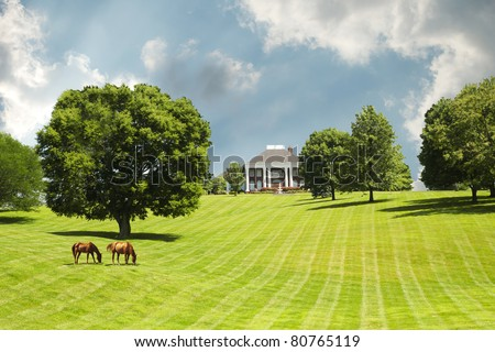 Sprawling acres of green grass pastures surround a horse farm ranch in Kentucky, USA.