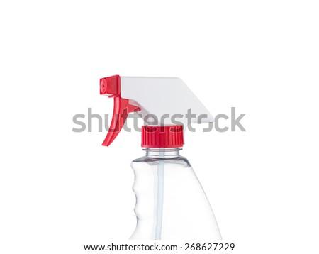 Spray bottle head close-up isolated on white background - stock photo