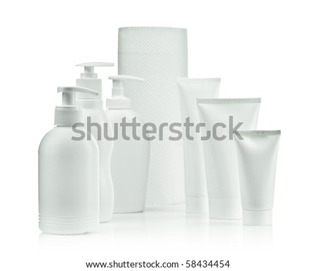 spray bottles and tubes and towel