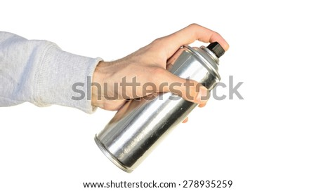 spray can in hand isolated on white background - stock photo