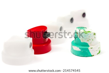 spray can nozzle cap on a white background - stock photo