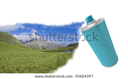 Spray can with CMYK colors - stock photo