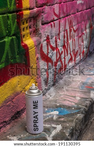 spray can with graffiti - stock photo