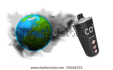 Spray can with Ozone colors - stock photo