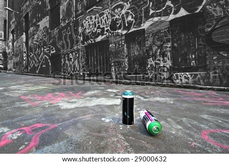 Spray cans in a Graffiti Alley in Melbourne, Australia - stock photo