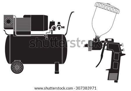 Spray gun, Air compressor.  Raster version
