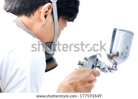 spray gun painting  - stock photo