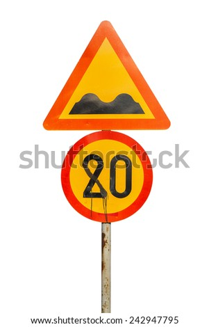 Spray painted vandalised speed limit sign, traffic sign determining the speed limit reads 80 instead of 20 after it was sprayed in a vandalism act.  - stock photo