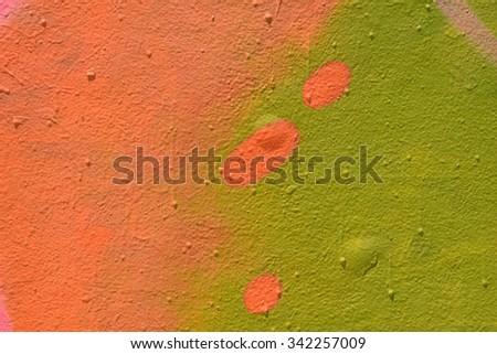 Spray painted wall texture colorful green and pink shapes abstract background. - stock photo