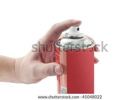 Spray tin with male hand - stock photo