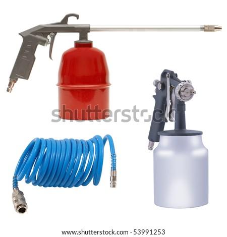 Spray tools set isolated over white background - stock photo