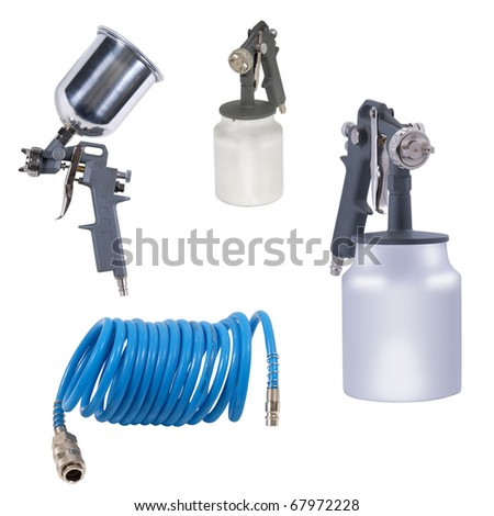 Spray tools set isolated over white background - stock photo