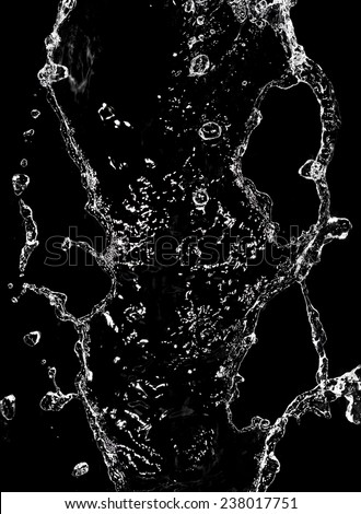 spray water on a black background - stock photo