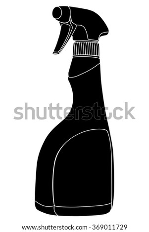 Sprayer bottle black symbol - silhouette - illustration - stock photo
