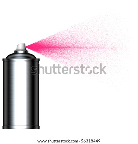spraying pink mist spray can seen from the side - stock photo