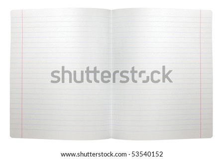 Spread double sheet of open seamless lined note paper background texture, isolated - stock photo