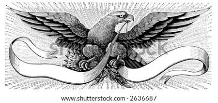 spread eagle and shield - stock photo