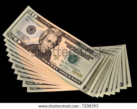 Spread of US Twenty Dollar Bills (Isolated) - stock photo