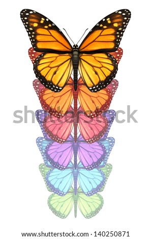 Spread your wings and escape with a monarch butterfly flying upward changing and going through a color transformation as a concept of freedom creativity and design innovation isolated on white. - stock photo